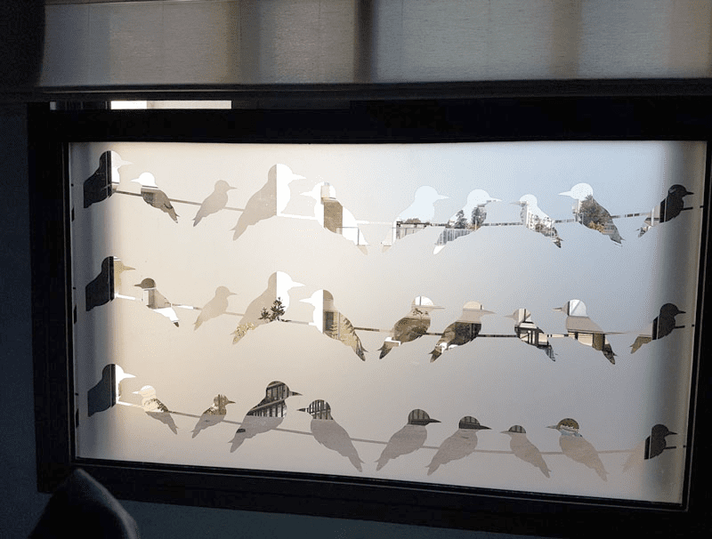 מדבקה לזכוכית   ציפורים על חוט