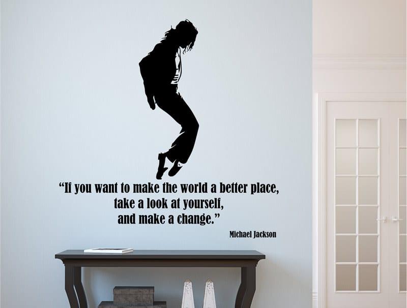 מדבקת קיר   מייקל ג'קסון - משפט יפיפה