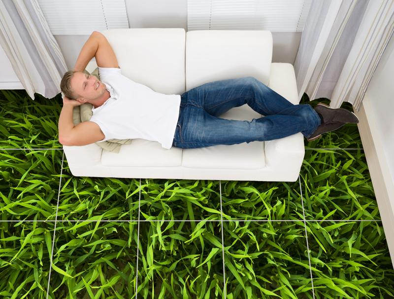 מדבקת רצפה דמוי דשא