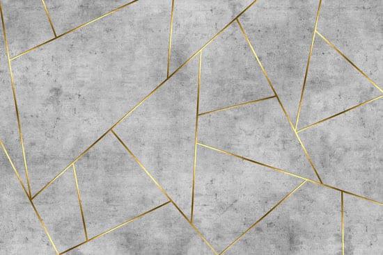 טפט צורות אפורות משולב זהב