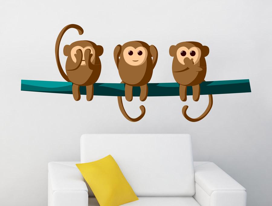 מדבקה - קופים חמודים על ענף