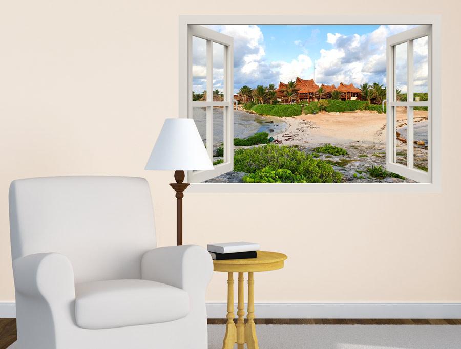 מדבקה - חלון עם נוף לבקתות בים