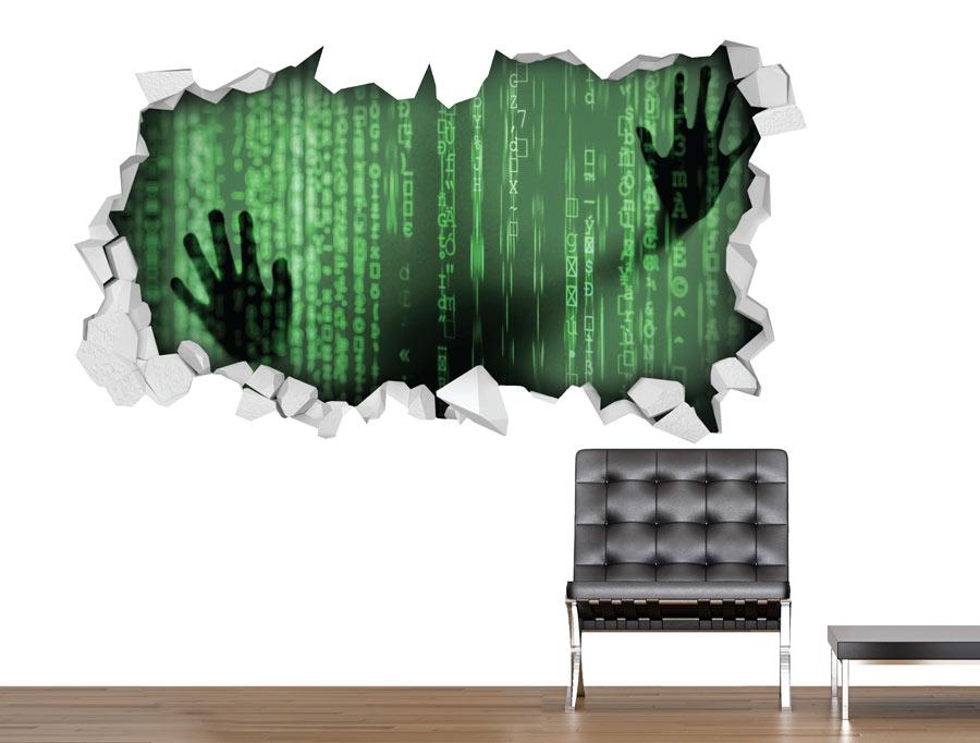מדבקה - חור בקיר מטריקס