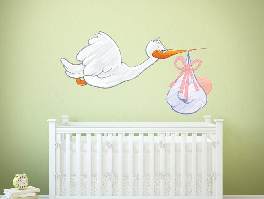מדבקה - חסידה עם תינוק