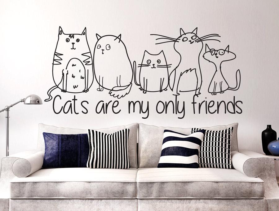 מדבקה - רק חתולים הם חברים שלי