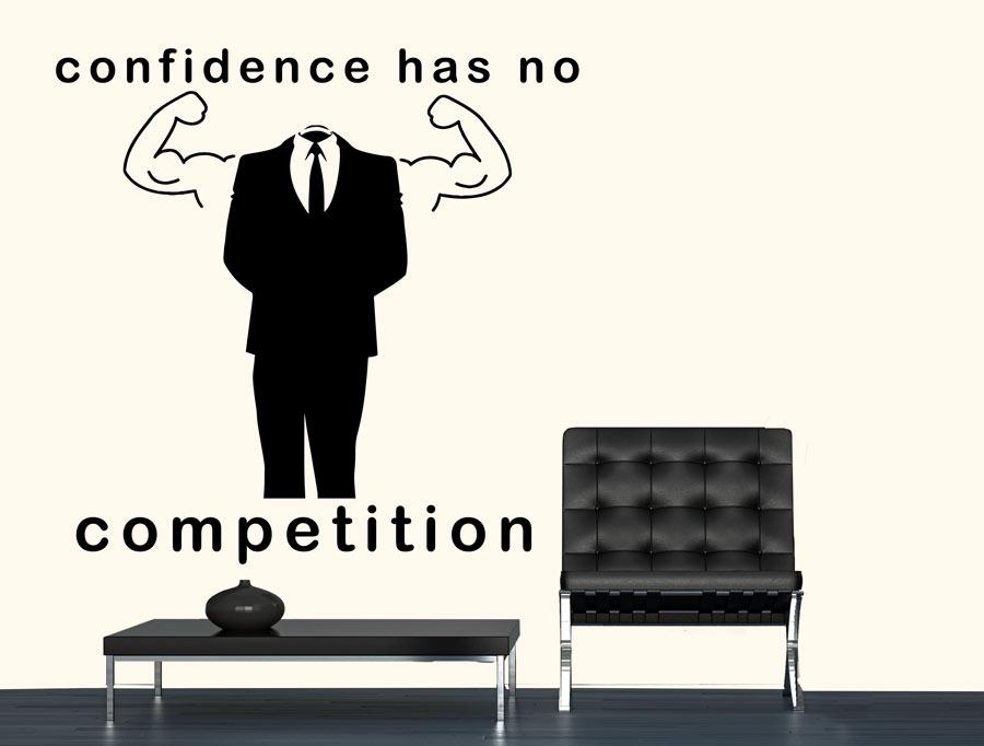 מדבקה - לביטחון עצמי אין תחרות