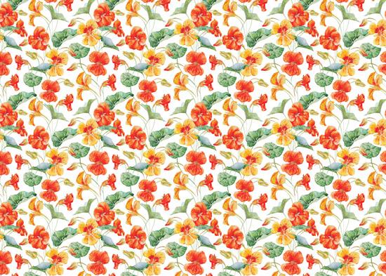טפט - פרחים כתומים