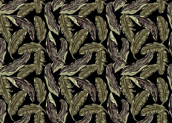 טפט - עלים מעוצבים בגוון ירוק זית