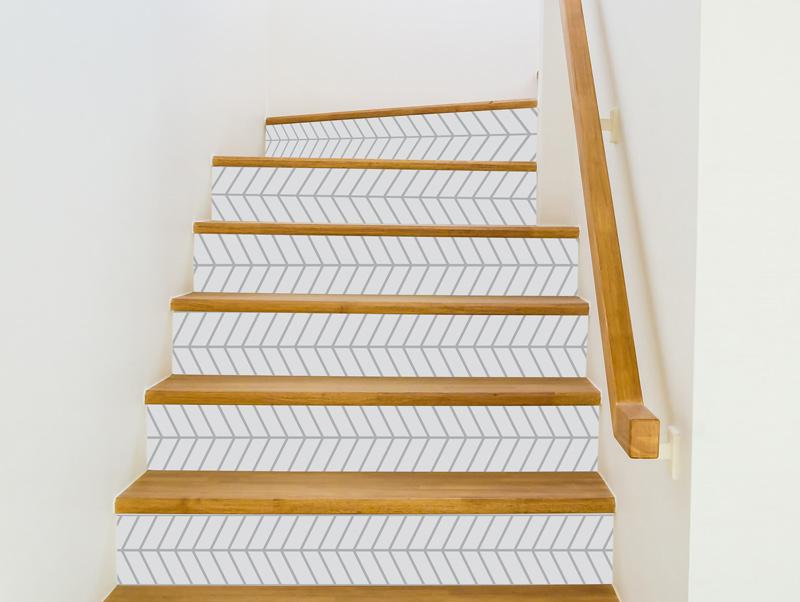 מדבקות למדרגות   וינטג׳ צבע לבן אפור