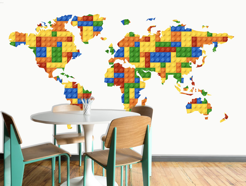מדבקה של מפת עולם סטייל לגו