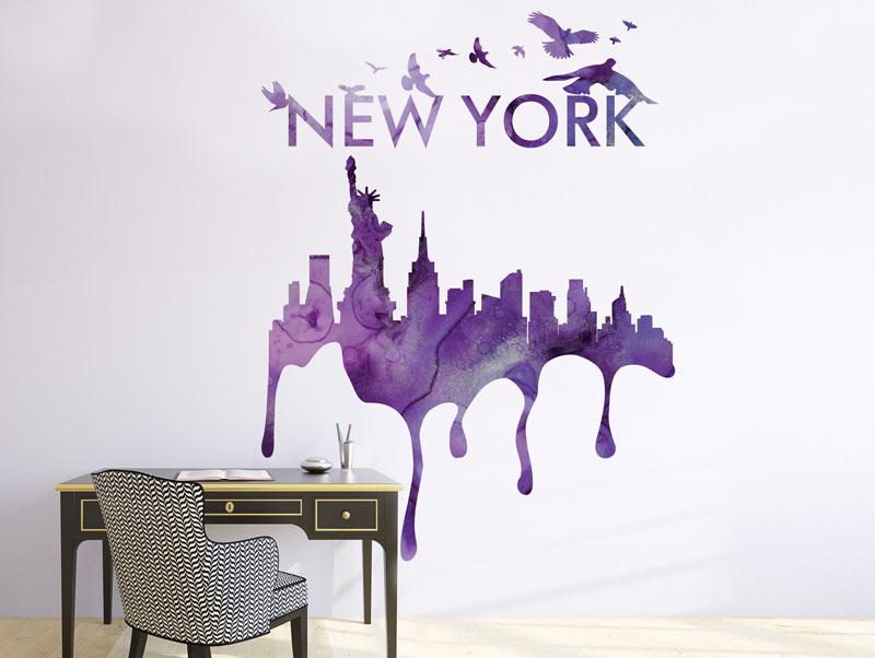 מדבקת ניו יורק בשחקים בצבע סגול