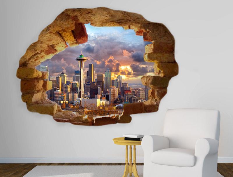 מדבקה של חור בקיר לעיר ניו יורק