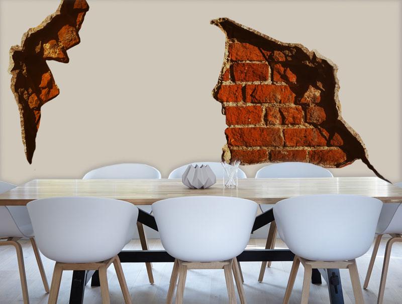 מדבקת חלק קיר של בריקים חומים