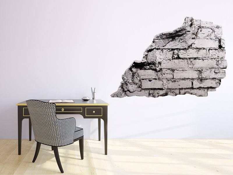 מדבקת חלק קיר של בריקים אפורים
