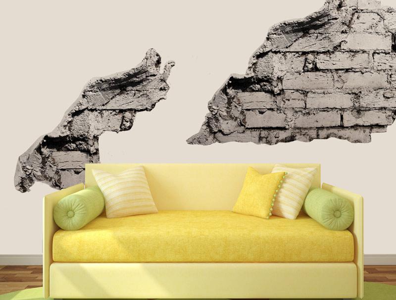 מדבקות של חלקי קיר עם בריקים אפורים