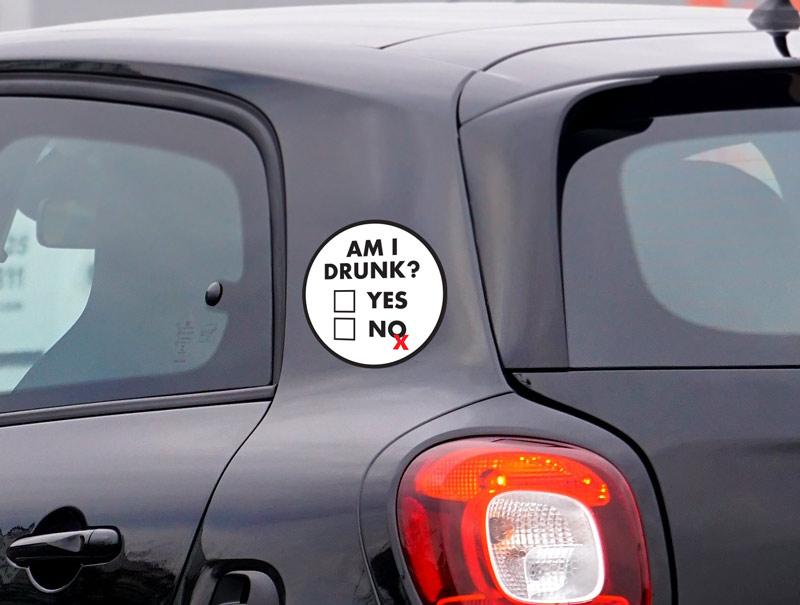 מדבקה לרכב | האם אני שיכור?