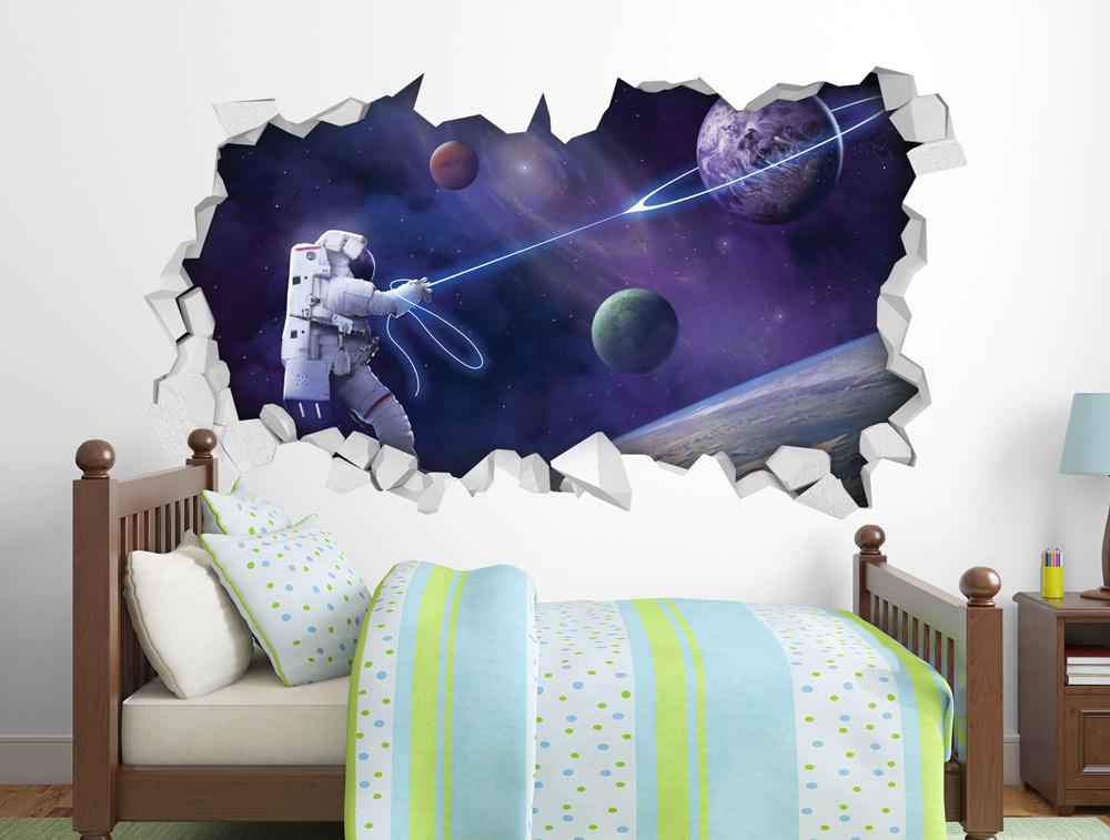 מדבקת קיר - אסטרונאוט לוכד כוכבים