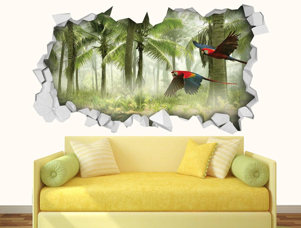 מדבקת קיר - חור בקיר ויער אקזוטי