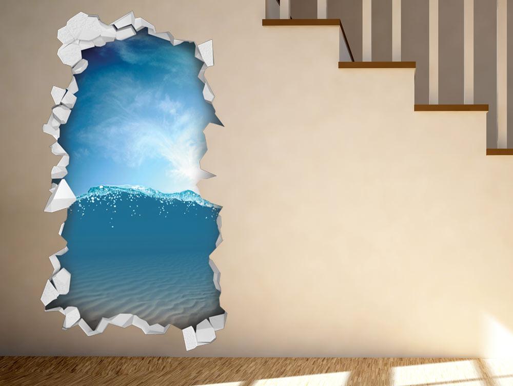מדבקת קיר - מים כחולים