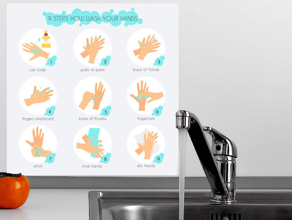 מדבקה - איך לשטוף ידיים