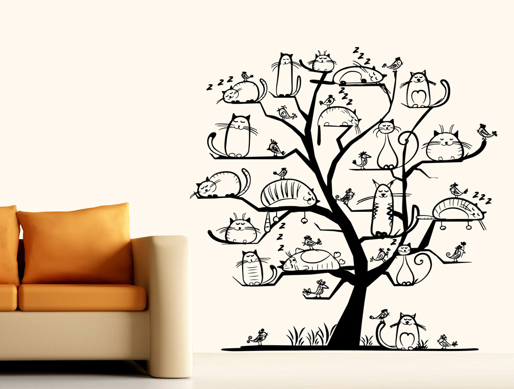 מדבקת קיר - עץ חתולים