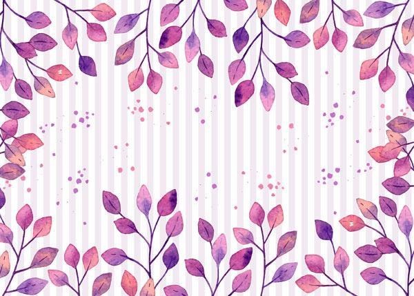 מדבקת טפט - עלים סגולים ופסים