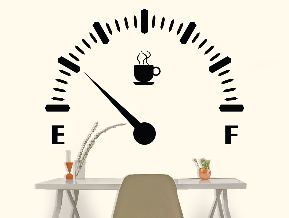 מדבקת קיר - עוד קפה