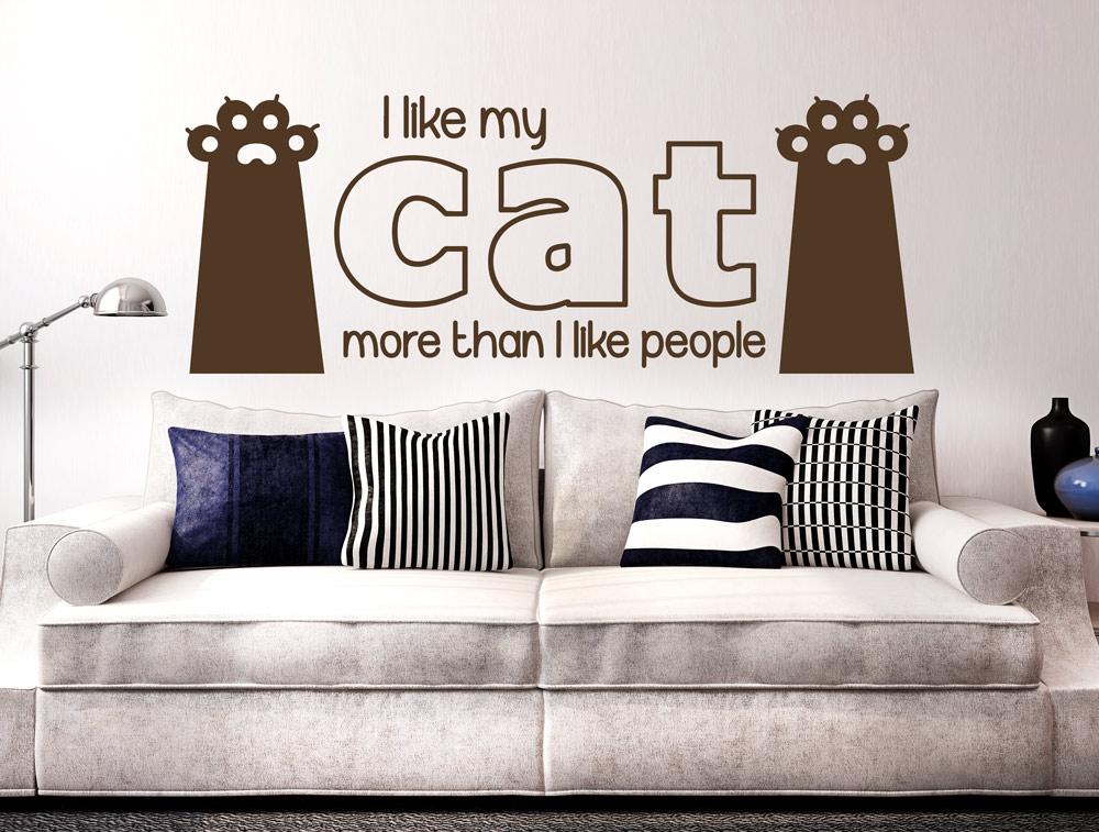 מדבקת קיר - אני אוהב חתולים יותר מאנשים