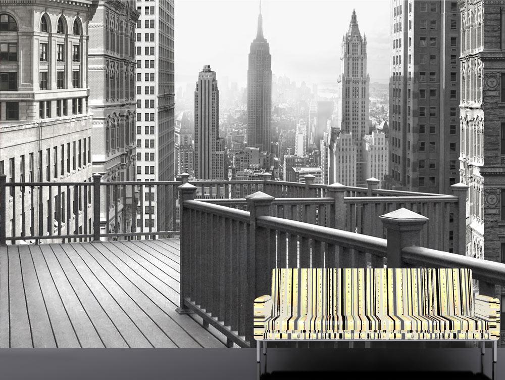 מדבקת טפט - מרפסת לעיר בשחור לבן