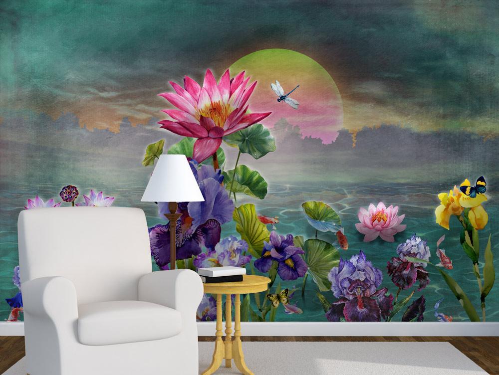 מדבקת טפט - עיצוב פרחים בשקיעה