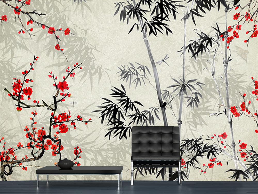 מדבקת טפט -  צמחים מעוצבים בסגנון יפני