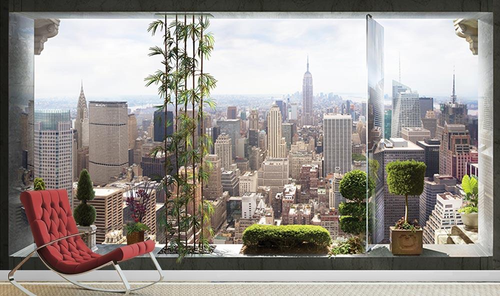 מדבקת טפט - חלון גדול ונוף לעיר
