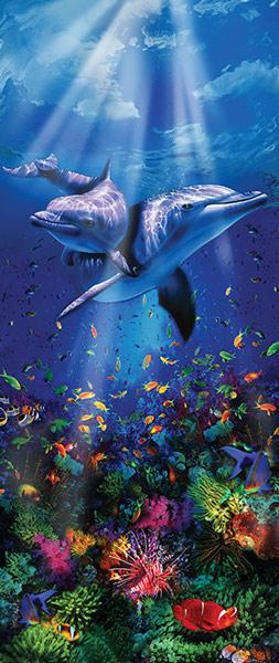 טפט לדלת - דולפינים ושונית אלמוגים