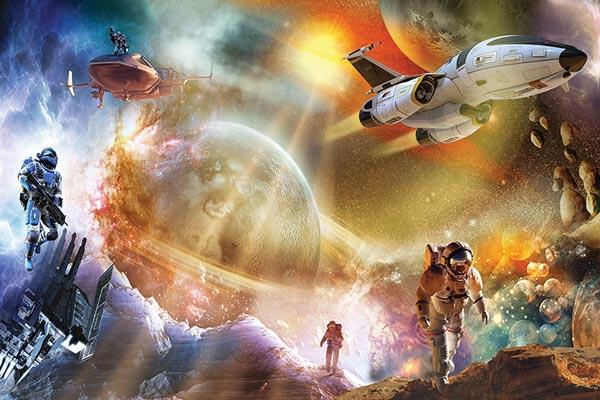 מדבקת טפט - אסטרונאוטים בחלל החיצון