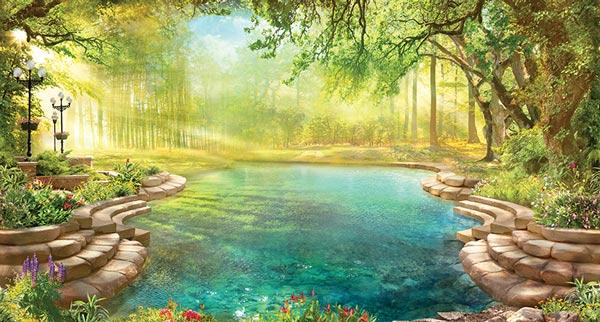 מדבקת טפט - בריכה בטבע