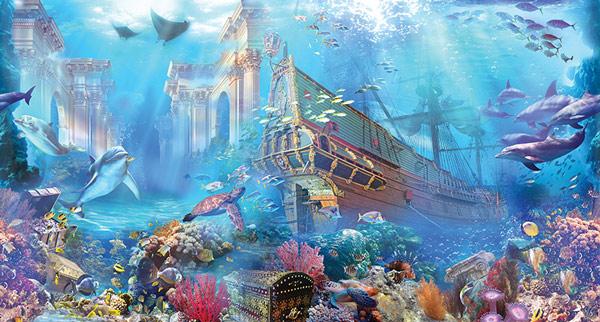 מדבקת טפט לחדרי ילדים שודדי הים מתחת לים