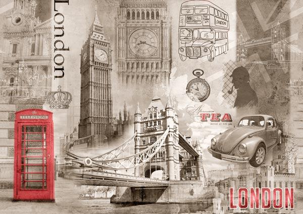 טפט לסלון קולז' בעיצוב וינטג' של לונדון