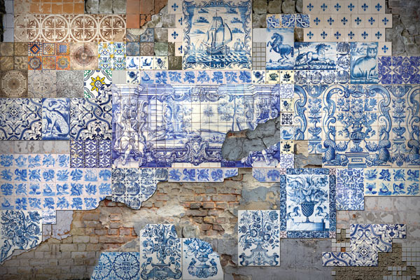 טפט לסלון בעיצוב אריחים עתיקים ובריקים