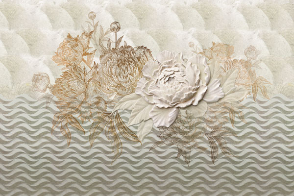 טפט אבסטרקטי של פרח בעיצוב עתיק