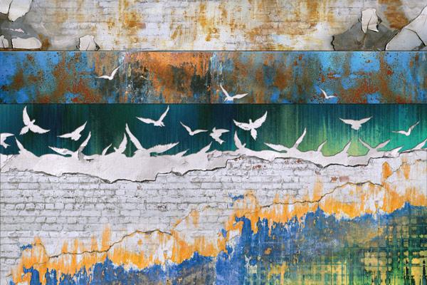 טפט בריקים וגרפיטי גדוש ציפורים