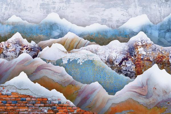 טפט עיצוב הרים בגוונים כתום ותכלת