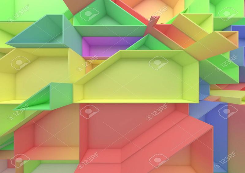 טפט צורות צבעוניות תלת מימדי
