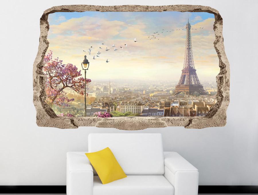 מדבקת תלת מימד של נוף פריז מהקיר
