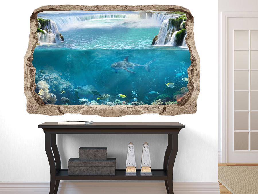 מדבקת קיר תלת מימדית כריש מתחת למים
