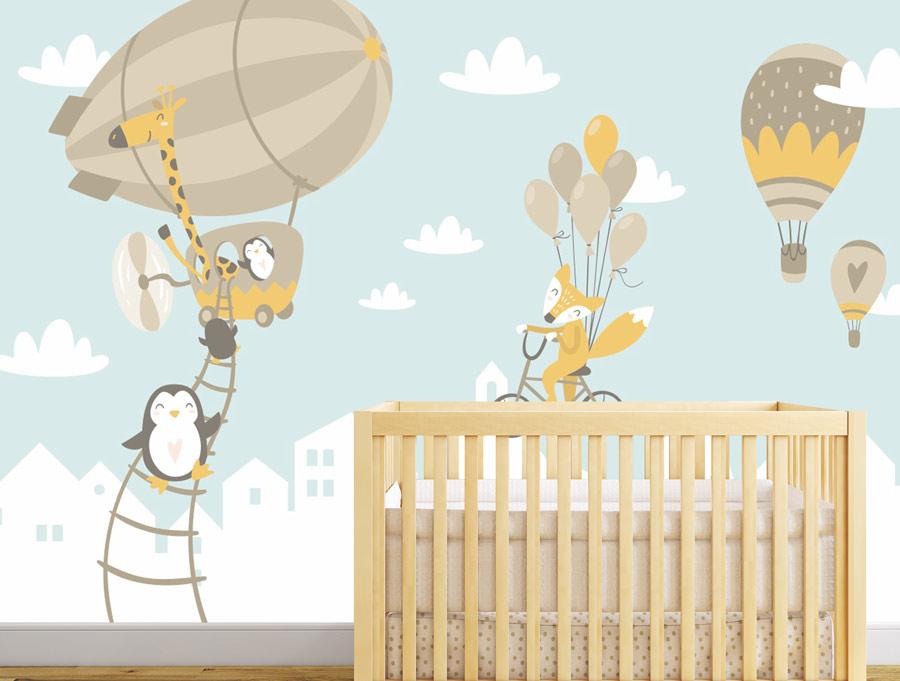 טפט לחדר תינוקות חיות וכדורים פורחים