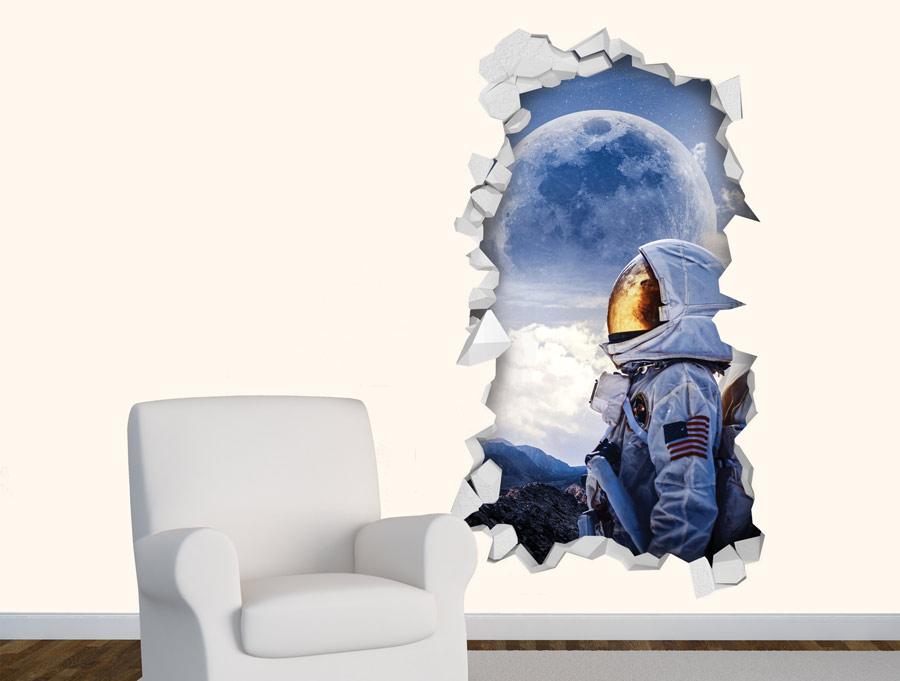 מדבקת תלת מימד של אסטרונאוט