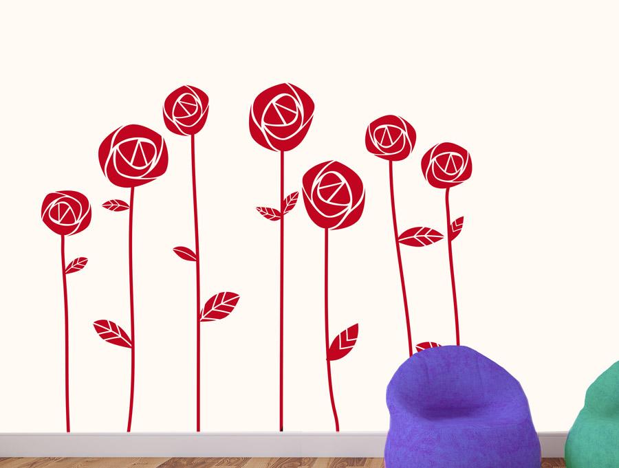 מדבקת קיר של סט ורדים