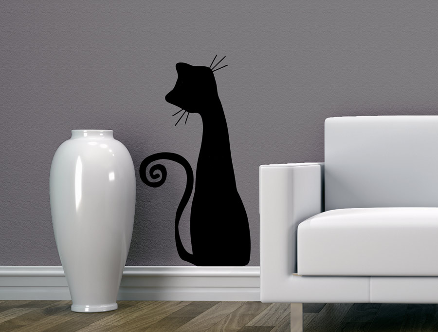 מדבקת קיר חתול חמוד