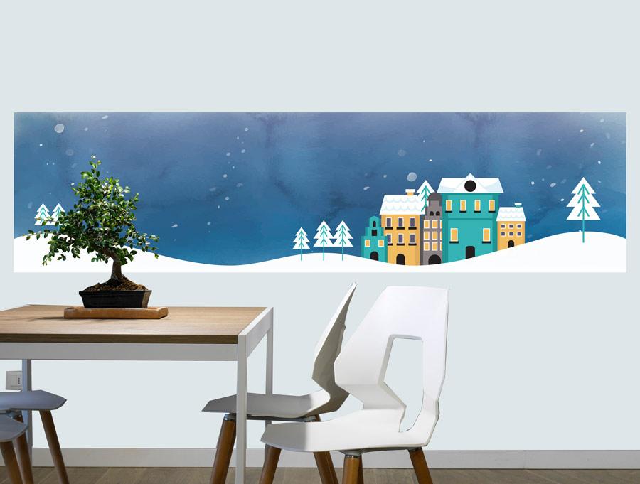 מדבקת קיר עיר בשלג