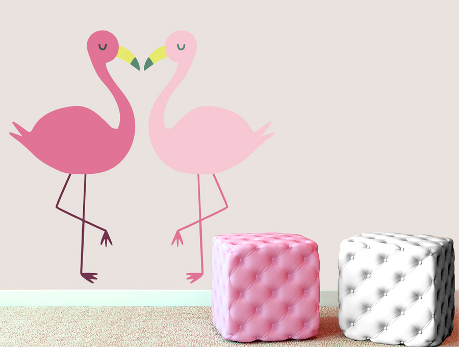 מדבקת קיר לחדר תינוקות פלמינגואים